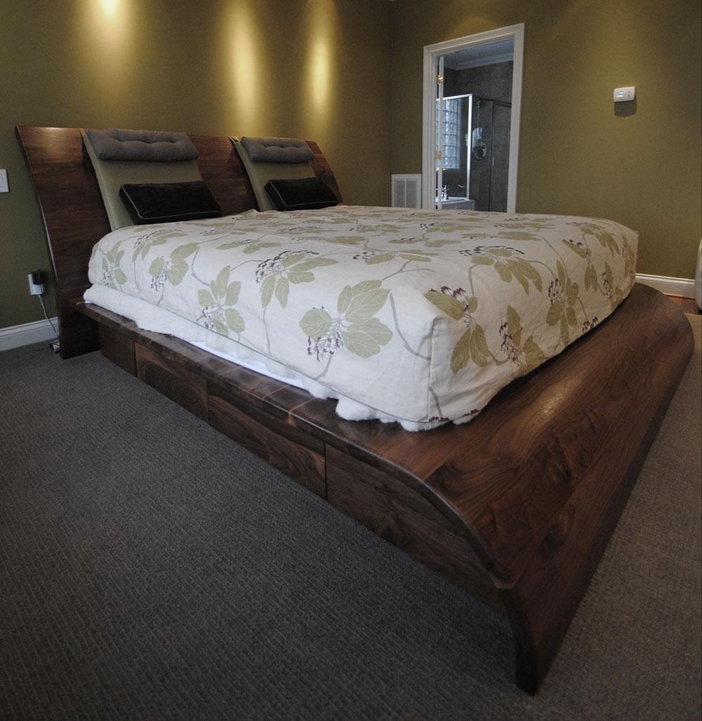 custom black walnut platform bed
